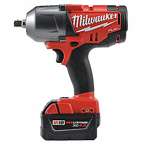 Cordless Impact Wrench Kit, 18.0 Voltage, 0 to 350/0 to 600 ft.-lb. Max. Torque, Battery Included
