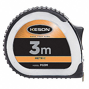 Tape Measure,16mmx3m,Chrome/Black,cm/mm