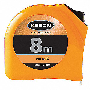 8m Steel Metric Long Tape Measure, Orange