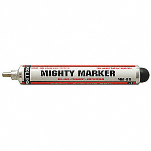 Permanent Industrial Marker, Paint-Based, Whites Color Family, Medium Tip, 1 EA