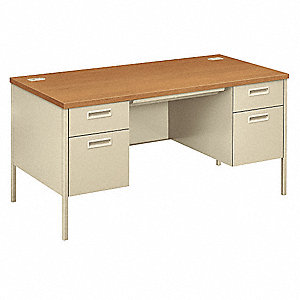 Office Desk,60x29-1/2x30In,Harvest/Putty