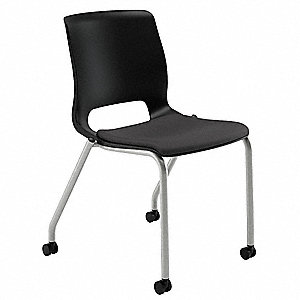 Textured Platinum Steel Stacking Chair with Black Seat Color, 2PK