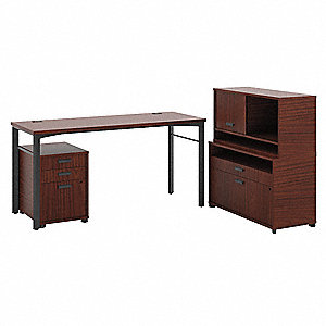 "76"" x 60"" x 39-7/8"" Manage Series Office Workstation, Chestnut"