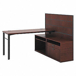 "63"" x 60"" x 50"" Manage Series Office L-Shape Workstation, Chestnut"