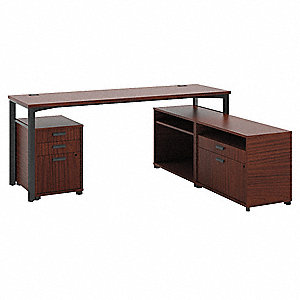 "72"" x 60"" x 29-1/2"" Manage Series Office L-Shape Workstation, Chestnut"