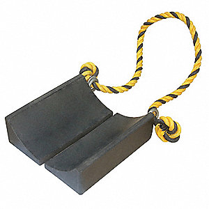 Wheel Chock, General Purpose, Style: Single, Rubber