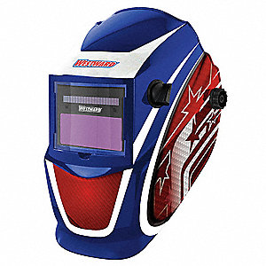"Solar Series, Auto-Darkening Welding Helmet, 9 to 13 Lens Shade, 3.82"" x 1.73"" Viewing Area"