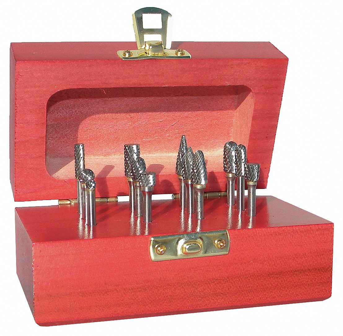 Carbide Bur Set,  Double Cut,  Shank Dia. 1/4 in,  Number of Pieces 9