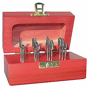 Carbide Bur Set,Single Cut,1/4 in,9 pc