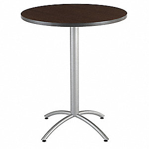 "Round Bistro Table, Walnut, Height: 42"", Dia.: 36"""