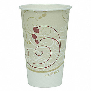 16 oz. Paper Disposable Hot Cup, Beige, 1000 PK