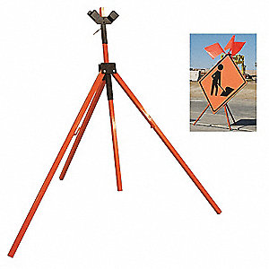 Portable Tripod Sign Stand, Steel, Sign Compatibility: Rigid, Roll-Up, Fillable: No, Orange