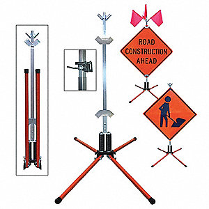 Portable Sign Stand, Steel, Sign Compatibility: Roll-Up, Fillable: No, Orange