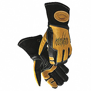 Glove,Welding,14 In L,Blk and Gold,XL,Pr