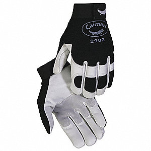 Leather Mechanics Gloves, Goatskin Leather Palm Material, Black/White, L, PR 1