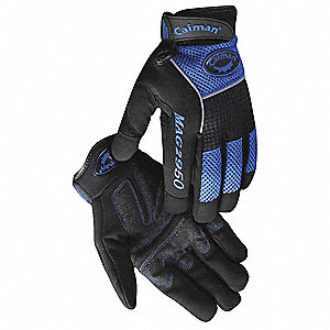 General Utility Mechanics Gloves, Synthetic Leather Palm Material, Black/Blue, L, PR 1