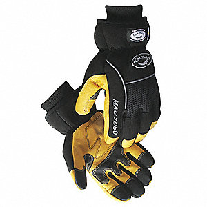 Cold Protection Gloves, Heatrac® Lining, Knit Wrist Cuff, Gold/Black, 2XL, PR 1