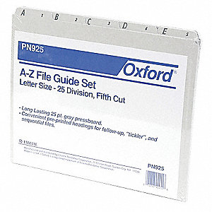 "File Guide Set with 25 Preprinted Tabs, Gray A to Z Tabs, 8-1/2"" x 11"""