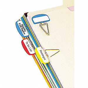 Label Clips with 12 Write-On Tabs, Multicolor Blank, 2-1/2""