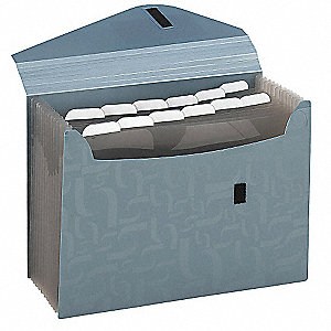13 Pocket Polypropylene Expandable File Folder, Gray