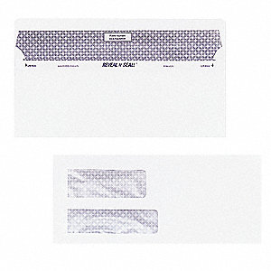 Dbl Window Envelope,White,Paper,PK500