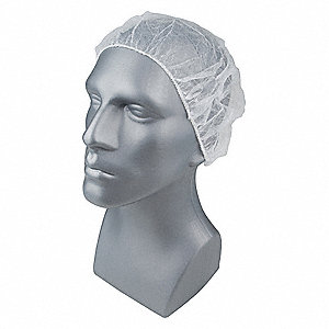 Bouffant Cap,PP,18 In,White,PK1000