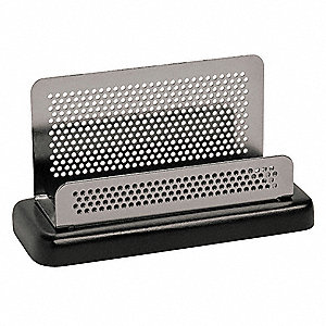 Business Card Holder,Blk/Mtl,Metal/Wood