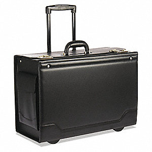 "Leather/Tufide/Steel Roller Laptop Case Fits Laptop Up to 17"", Black"