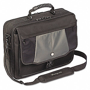 "Polyester/Nylon Twill Laptop Case Fits Laptop Up to 17"", Black/Gray"