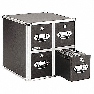 CD/DVD File w/Lock,4-Drawer, Black, Capacity 660 Folders or 240 Slim/120 Standard Jewel Cases