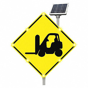 Forklift LED Traffic Sign, Yellow LED Color, Power Requirements: Solar
