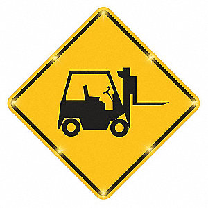 Forklift LED Traffic Sign, Yellow LED Color, Power Requirements: 110V