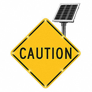 Caution LED Traffic Sign, Yellow LED Color, Power Requirements: Solar