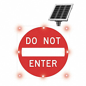 Do Not Enter LED Traffic Sign, Red LED Color, Power Requirements: Solar