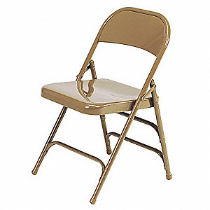 Golden Bronze Steel Folding Chair with Golden Bronze Seat Color, 1EA