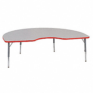 Table,Kidney,25 x 72 In,Gray,Preschool-K