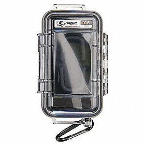 "2.64"" x 1.37"" x 5.14"" Polycarbonate Cell Phone/Digital Player Case, Clear w/Black Liner"