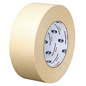 Paper Masking Tape, Rubber Tape Adhesive, 6.30 mil Thick, 48mm X 54.8m, Tan, 24 PK