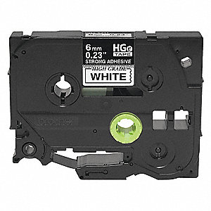 "Indoor/Outdoor Polyester Label Tape Cartridge, Black/White, 15/64""W x 26 ft. 2-13/32"""