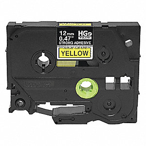"Black/Yellow Polyester Label Tape Cartridge, Indoor/Outdoor Label Type, 26-1/5 ft. Length, 0.47"" Wid"