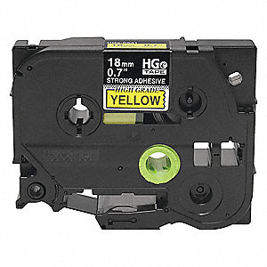 "Black/Yellow Polyester Label Tape Cartridge, Indoor/Outdoor Label Type, 26-1/4 ft. Length, 0.70"" Wid"