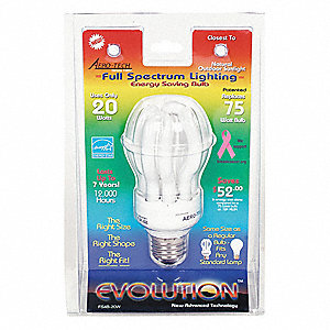 20 Watts  Screw-In CFL, Spiral, Medium Screw (E26), 1100 Lumens 5000K Bulb Color Temp.