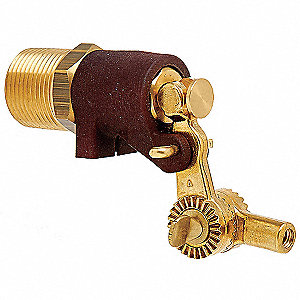 "Pipe-Mount Float Valve, 1/4""-20 Rod Thread, Brass/Plastic"