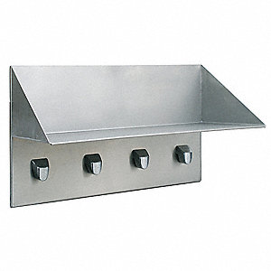 Security Shelf with Hooks,19-3/16 In L
