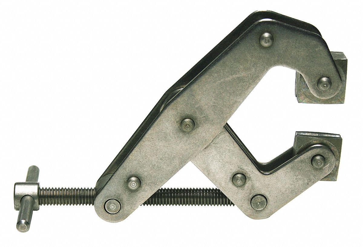 Cantilever Clamp,  Stainless Steel,  Tumbled,  2 in Max. Opening,  1 1/4 in Throat Depth