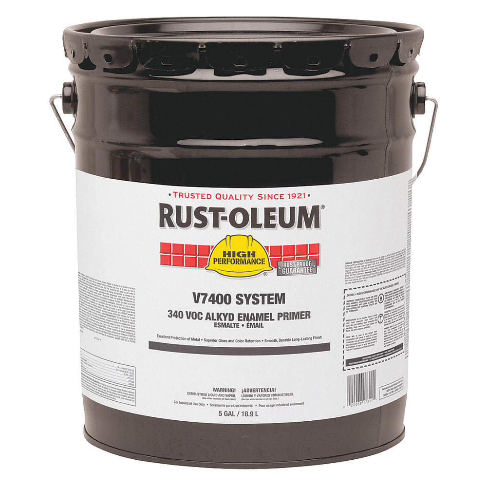 Interior/Exterior Alkyd Primer with 300 to 550 sq  ft /gal  Coverage,  Semi-Gloss Gray, 5 gal