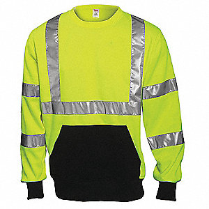 Hi-Vis Crew Sweatshirt,Cl. 3,Lime,3XL