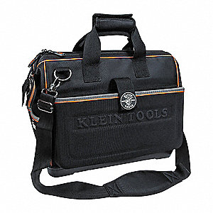 "Polyester Wide-Mouth Tool Bag, 17-3/4"" Width, Number of Pockets: 48, Black"