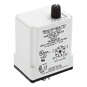 Single Function Time Delay Relay, 12VDC Coil Volts, 10A Contact Amp Rating (Resistive), Contact Form