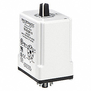 Time Delay Relay, 24VAC/DC Coil Volts, 10A Contact Amp Rating (Resistive), Contact Form: DPDT